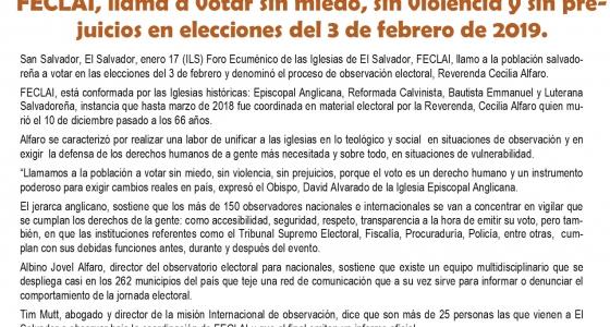FECLAI elecciones del 3 de febrero de 2019, El Salvador